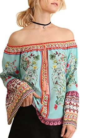 70225a567cba9 Umgee Women s Off Shoulder Floral Print Top with Bell Sleeves at ...