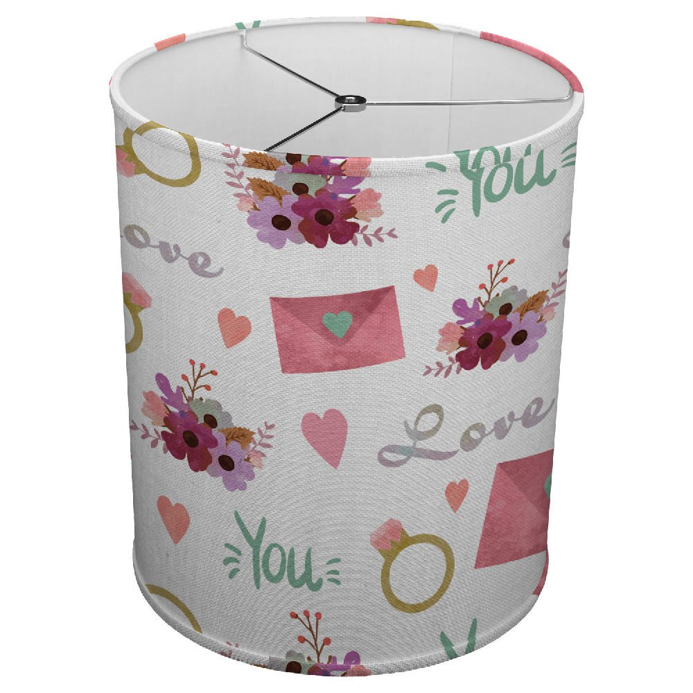 Hardback Linen Drum Cylinder Lamp Shade 8'' x 8'' x 8'' Spider Construction [ Letter Love Ring Marriage ]