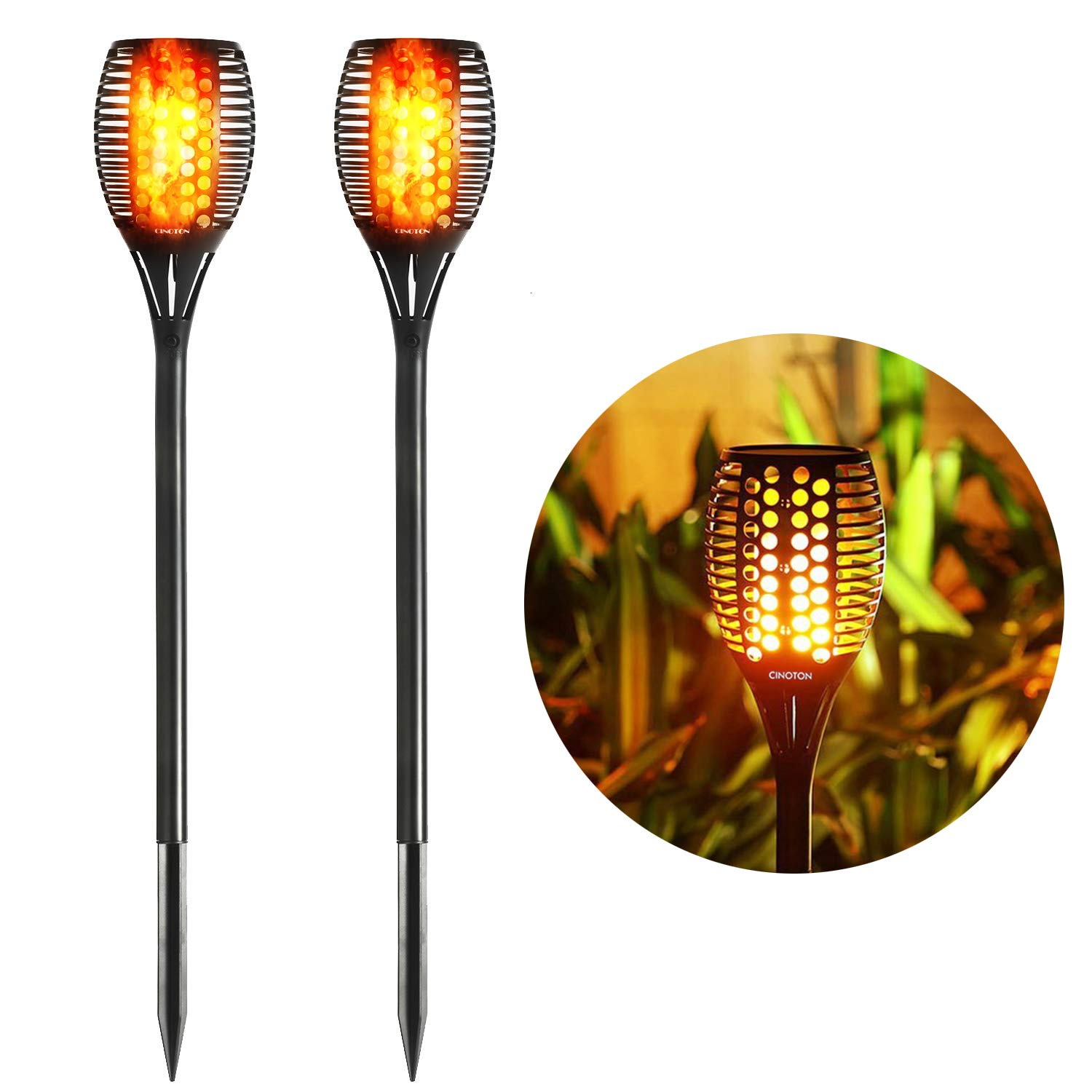 Cinoton Solar Light,Path Torches Dancing Flame Lighting 96 LED Dusk to Dawn Flickering Torches Outdoor Waterproof garden decorations (2) by CINOTON