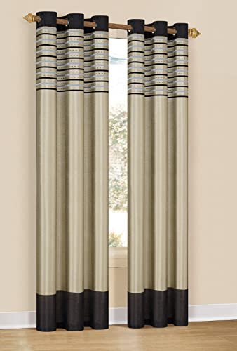 Set of Two 2 Window Curtain Panels Black with Taupe, Embroidered, Grommets, 76 x 84 Black and Taupe