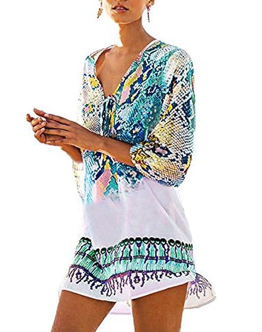 Jastore®Damen Einheit weiß Strandponcho Sommer Überwurf Kaftan Strandkleid Bikini Cover Up knitterfrei buntvoll Bälle