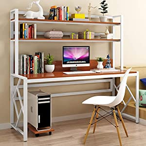 XIALIUXIA Computer Desk with Hutch and Bookshelf, Space Saving Sturdy Home Office Desk Writing Table PC Laptop Workstation,C,140CM