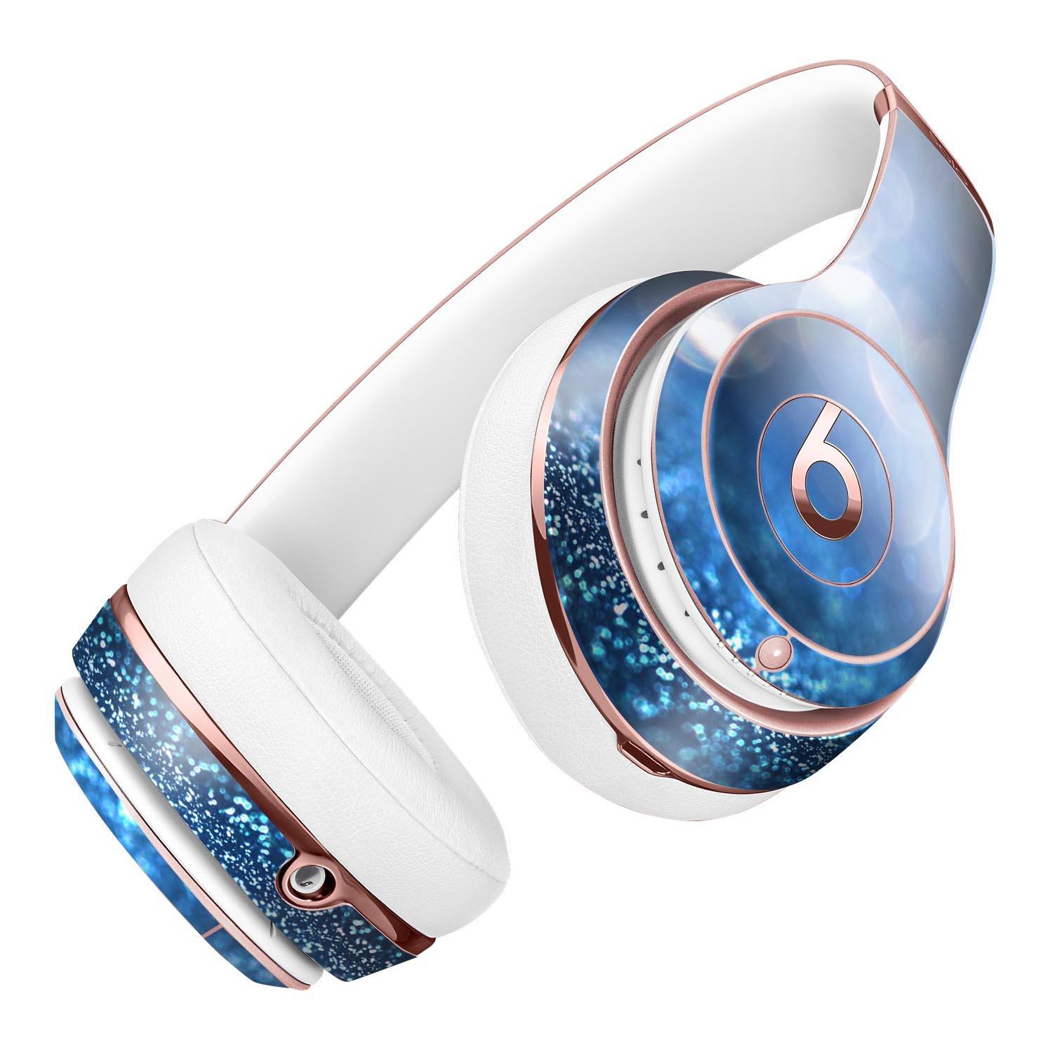 ロイヤルブルーandシルバーGlowing Orbsのライトdesignskinz全面スキンキットfor the Beats by Dre Solo 2ワイヤレスヘッドフォン/超薄型/マットFinished /保護スキンラップ   B01N3QL2GW