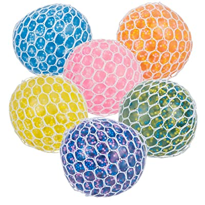 "Mozlly Multi-Colored Mesh Balls Squeezy Bead Soft & Gooey Stress, Anxiety, Tension Reliever Hand Muscle Therapy Bouncy Squishy Stressball Sensory Toy Party Favor Game Prizes- 2.75"", Assorted 6pcs/Set: Toys & Games"