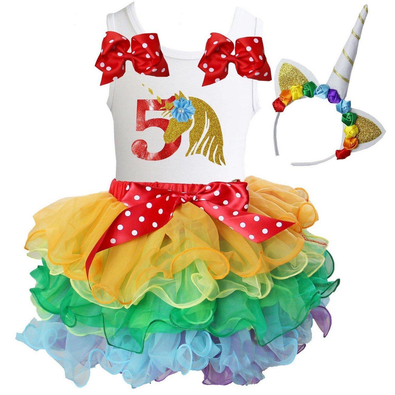 Kirei Sui Girls Rainbow Tutu /& 1st 6th Birthday Unicorn Tee /& Headband