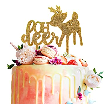 daf7a7738965e Oh Deer Fawn Gold Glitter Acrylic Cake Topper Woodland Baby Shower ...