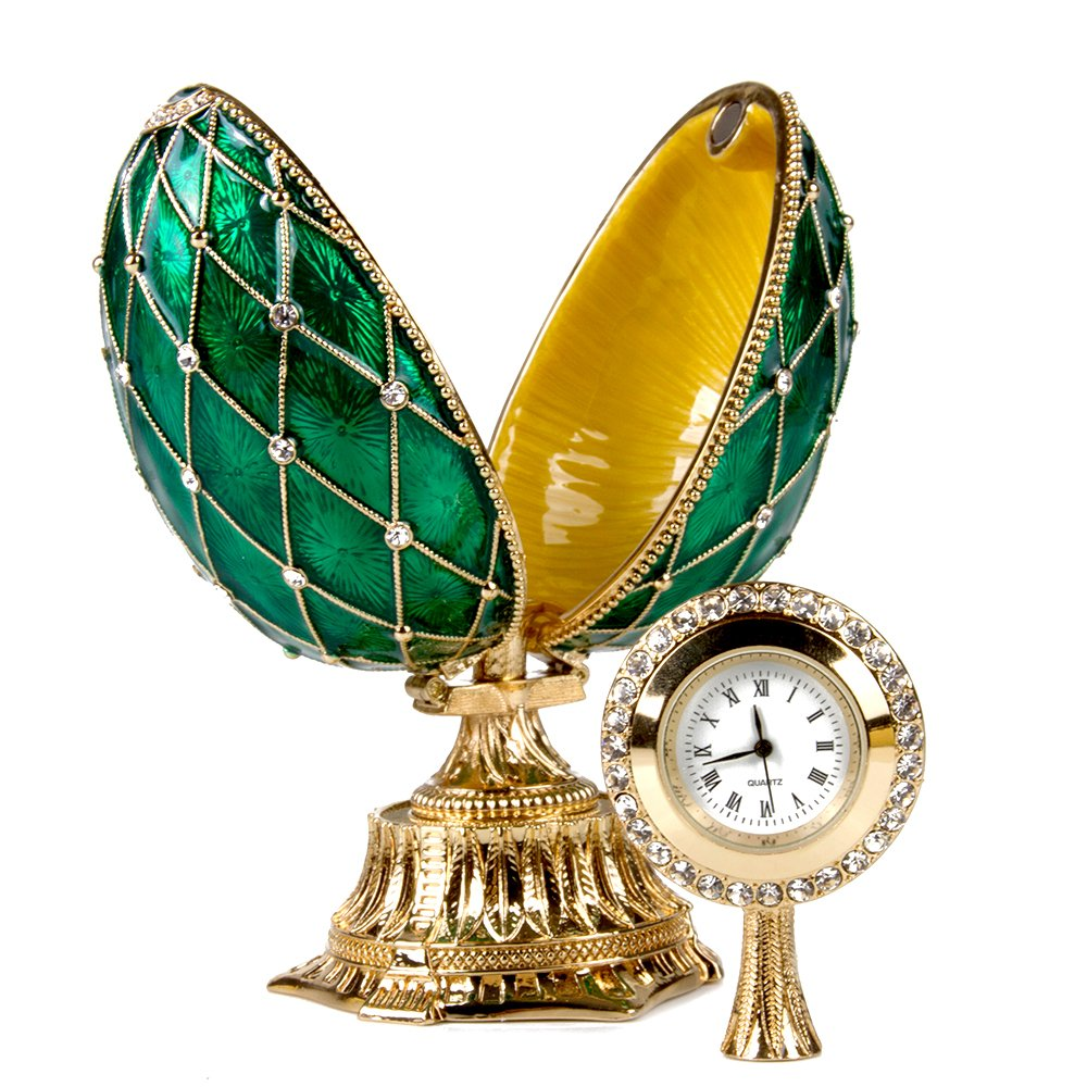 OrlovNY Swarovski Crystals Faberge Egg: Imperial Netting and Clock Egg with Rhinestones in Green by OrlovNY (Image #6)