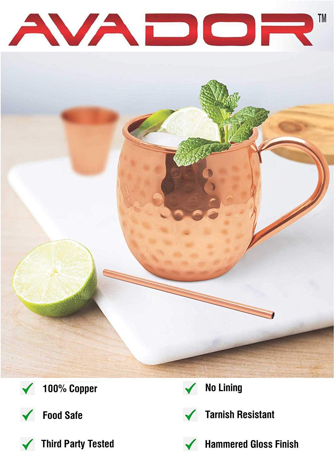 AVADOR Set of 4 Handcrafted 100% Pure Copper Moscow Mule Mugs Hammered Finish 16 Oz. Gift Set Boxed with Shot Glass and Copper Straws by Avador (Image #2)