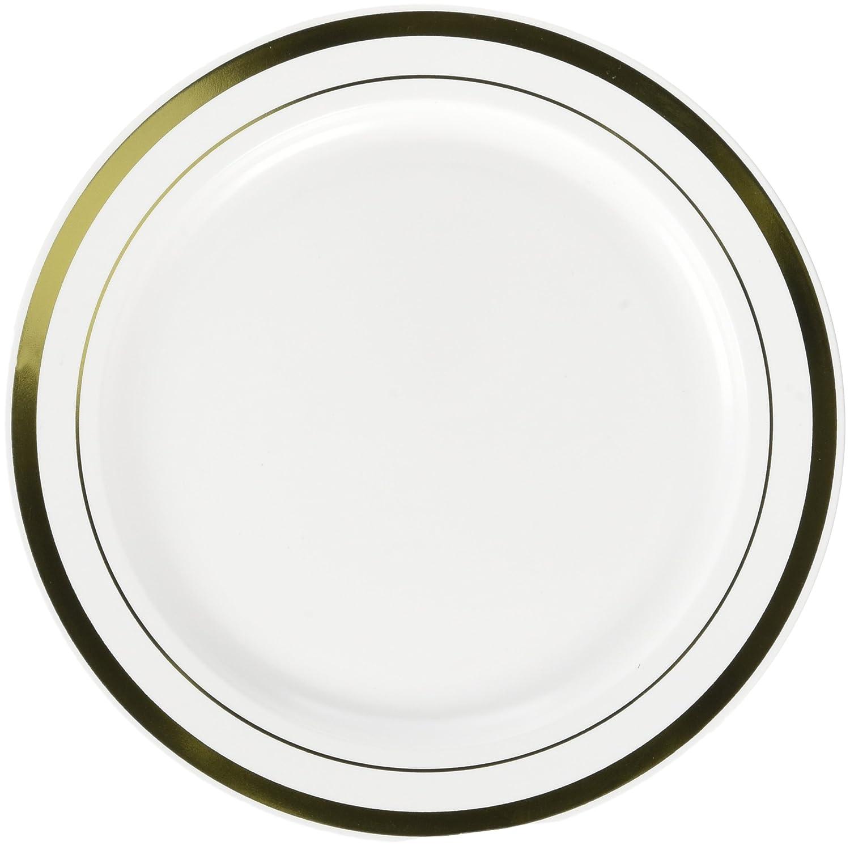 TradeMart Inc 60 Ct 10.3 438985 Amscan White Premium Plastic Round Plates with Gold Trim