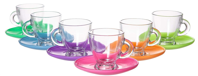 Roma Classic European Glassware, 12 Piece Mini Coffee Mug Teacup & Saucer Set, 3.25 fl oz Red Co. 95070-HZG