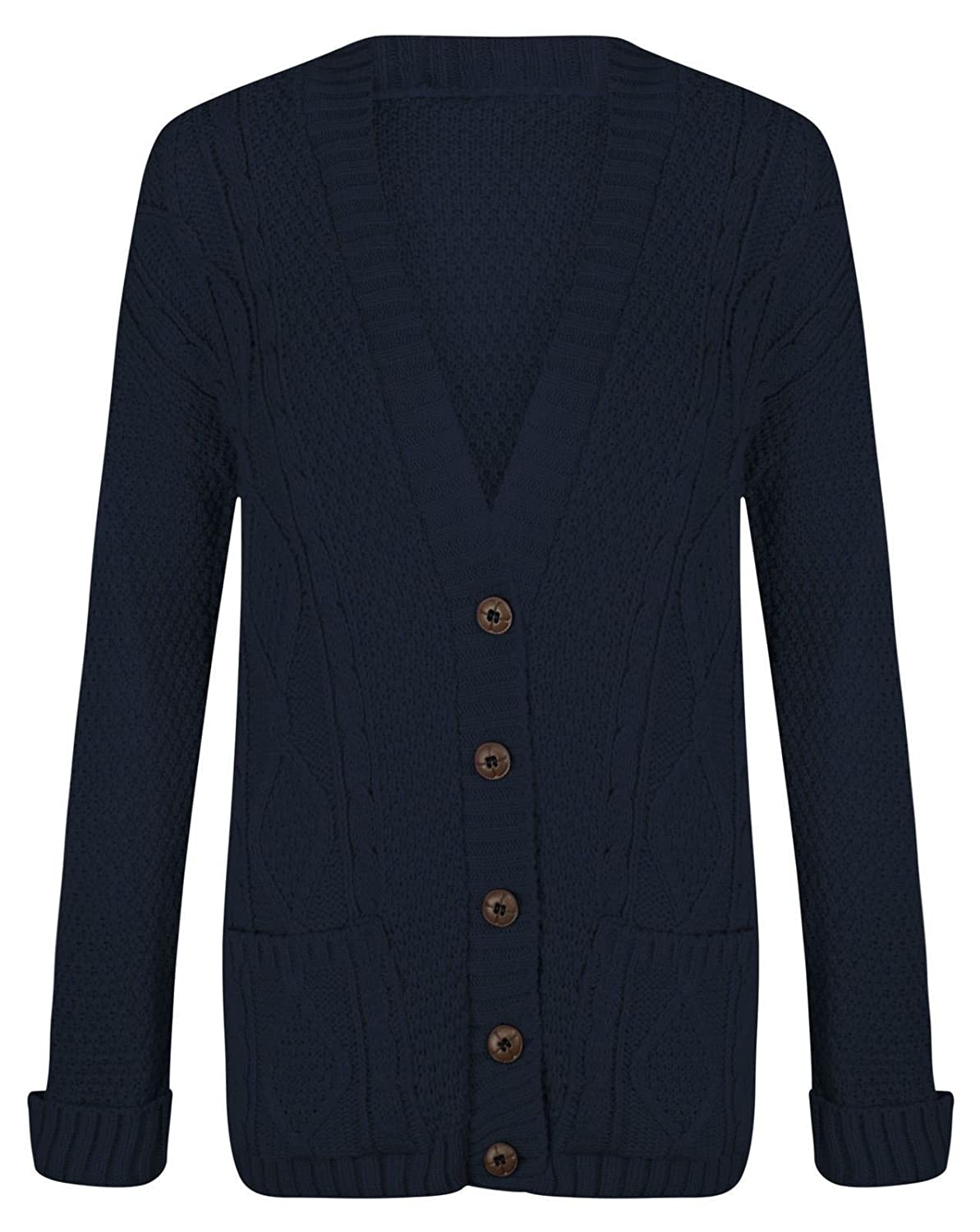 Fashion Valley Womens Long Sleeve Chunky Cable Knitted Button Ladies Grandad Long Cardigan Plus Size UK 24-26 XXXL.Navy