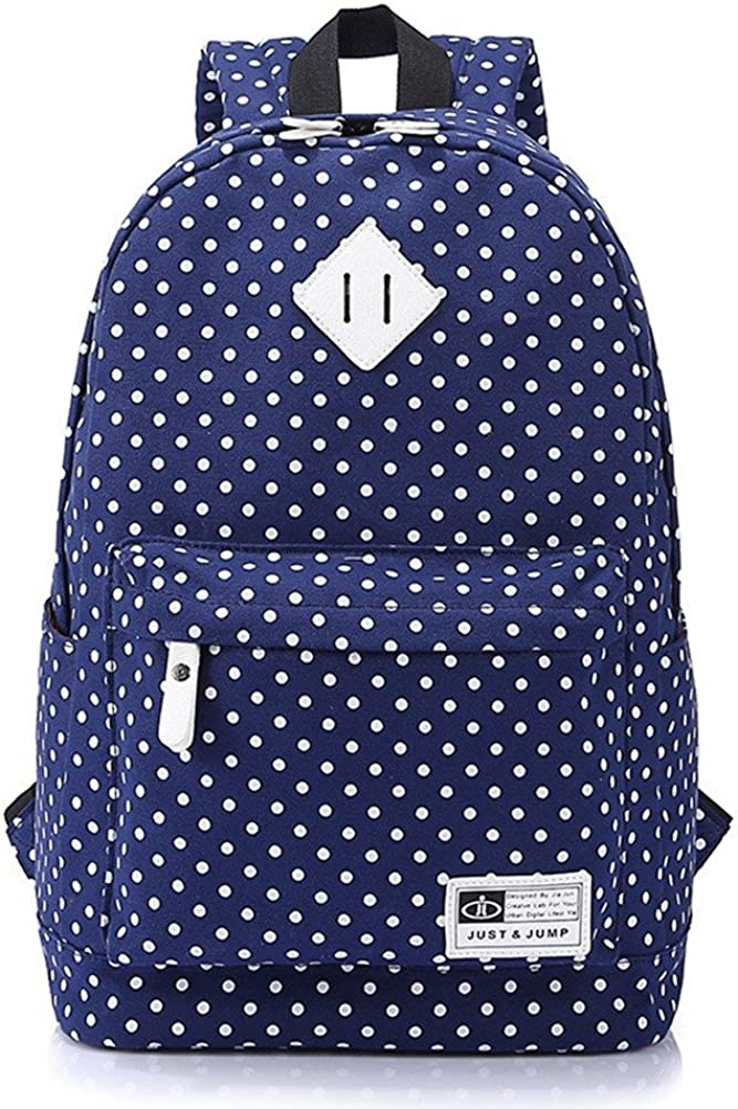 J/&DAT Durable Leisure Canvas Middle School Book Bags Grils Notebook Travel Backpack