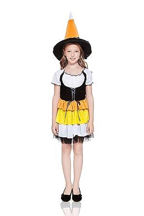 kids girls candy corn witch halloween costume cute sorceress dress up u0026 role play 3