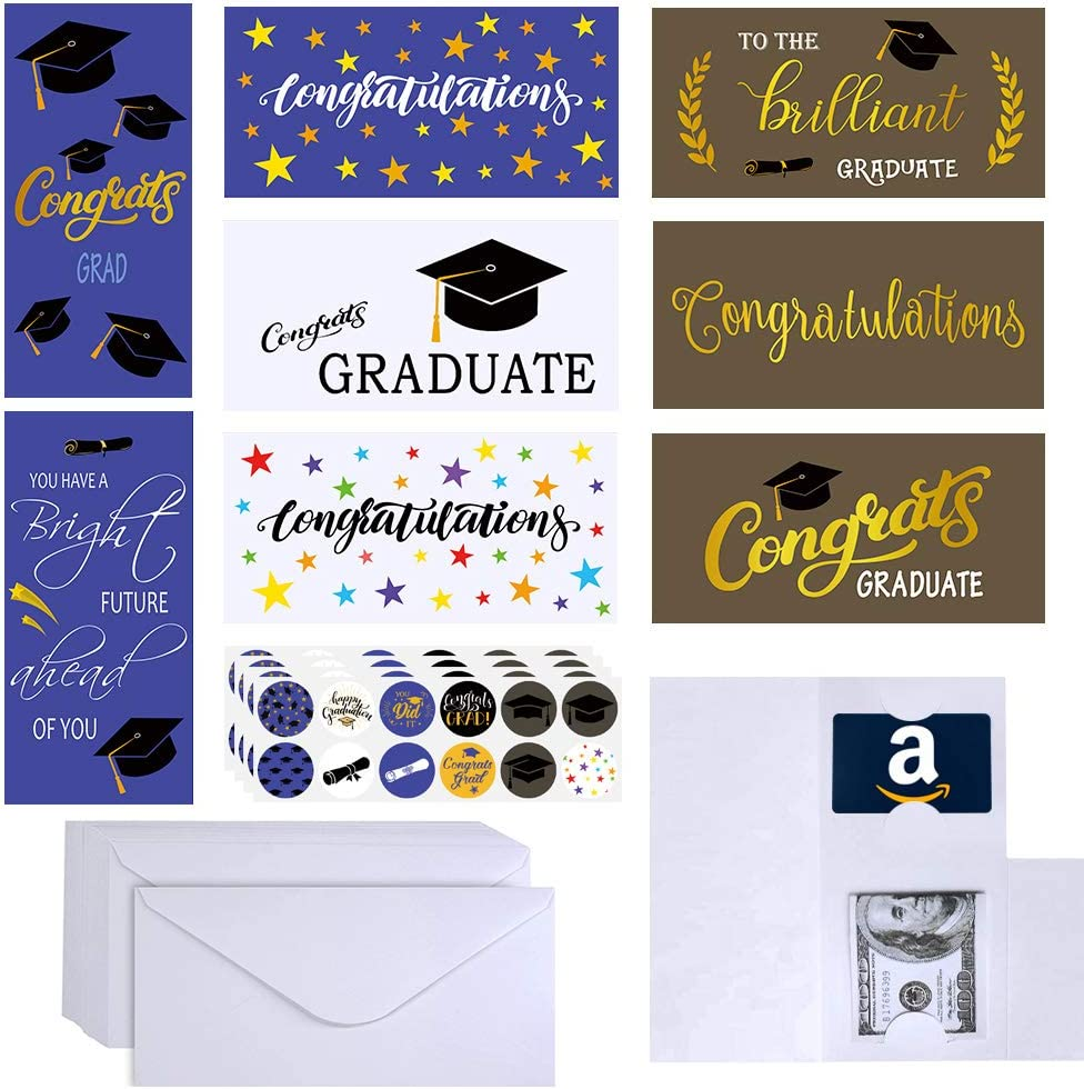 Supla 48 Sets 8 Designs Congratulations Cards Bulk Congrats Cards Grad Gift Card Money Gift Card Holder Graduation Greeting Cards Money Cards With Envelopes Stickers For College High School Amazon Co Uk Office Products
