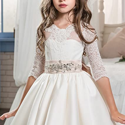 Amazon.com: OBEEII Big Girl Lace Flower First Communion Tutu Dress Pageant Wedding Ball Gown: Clothing