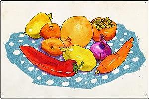 Graman Vintage Metal Tin Sign Fruit Poster, Printable Watercolor Food Illustration, Food Art Print, Kitchen Wall Art, Colorful Kitchen Poster, Colorful Nursery Art Aluminum Metal Sign 12x16 INCH