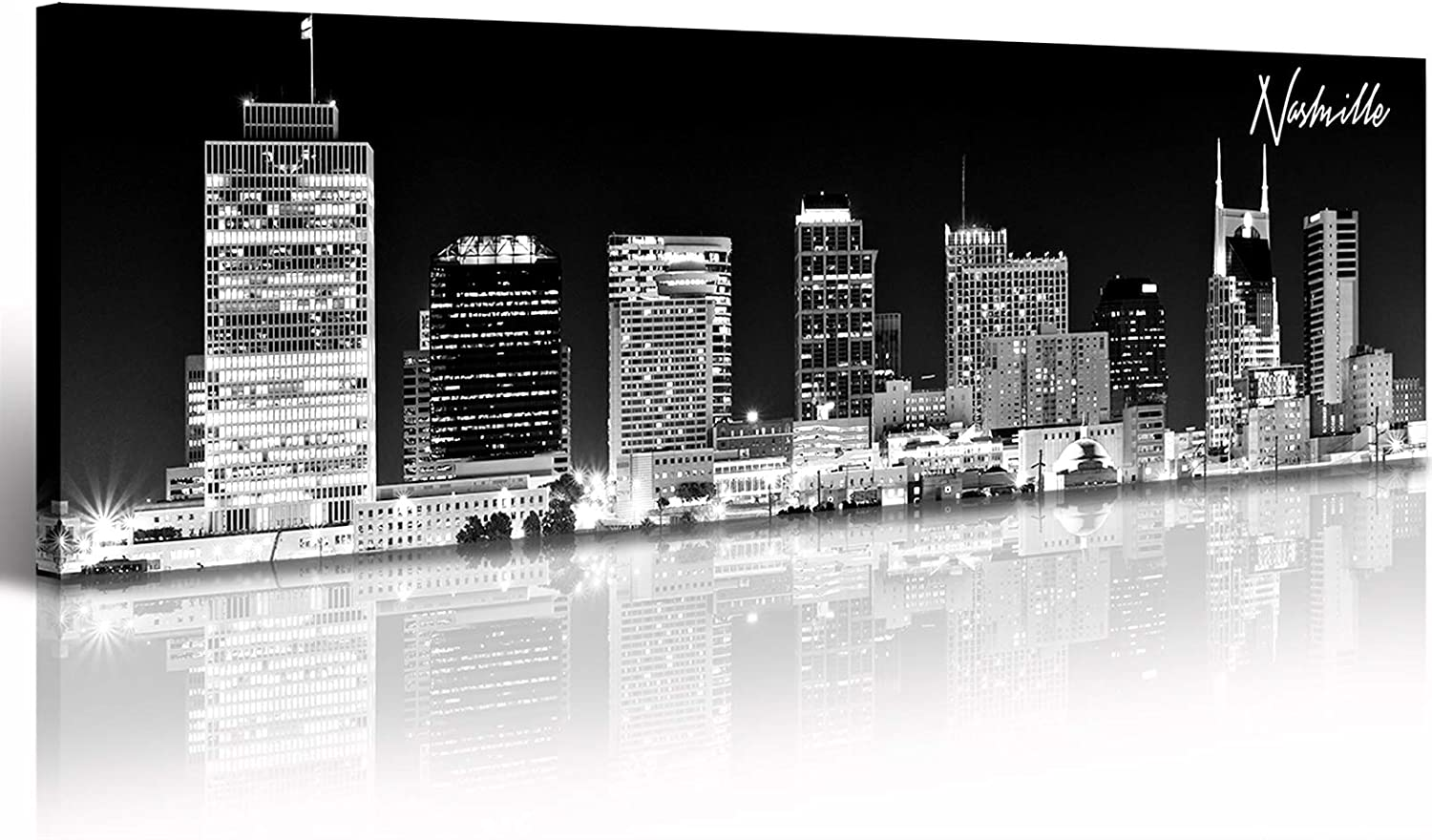 Wall Decor Nashville Skyline Panoramic City Landscape Picture Canvas Art B & W Paintings for Living Room Bedroom Artwork Modern Skyscraper Poster Giclee Print Framed Home Decorations 13.8