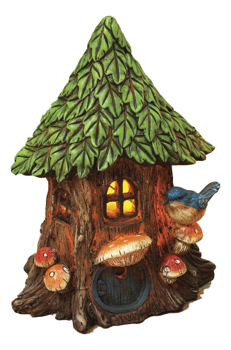 Adorable 8.25'' Solar Lighted Resin Treehouse Home Garden Gnome Fairy with Frogs Birds and Mushrooms (Bird & Mushrooms)