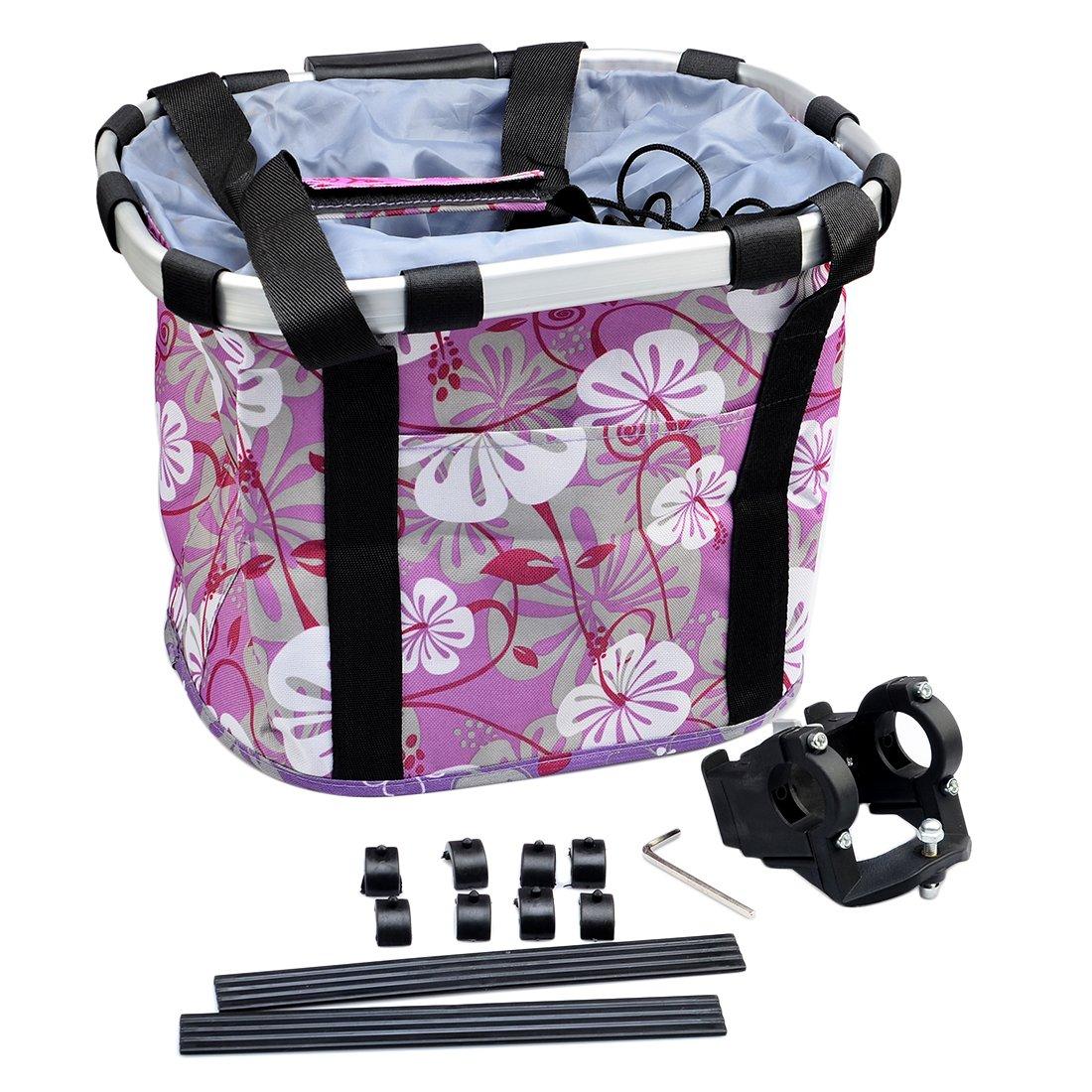 Quick Release Bicycle Bike Basket Fcoson Multi Purpose Picnic Storage Bag Purple Flower