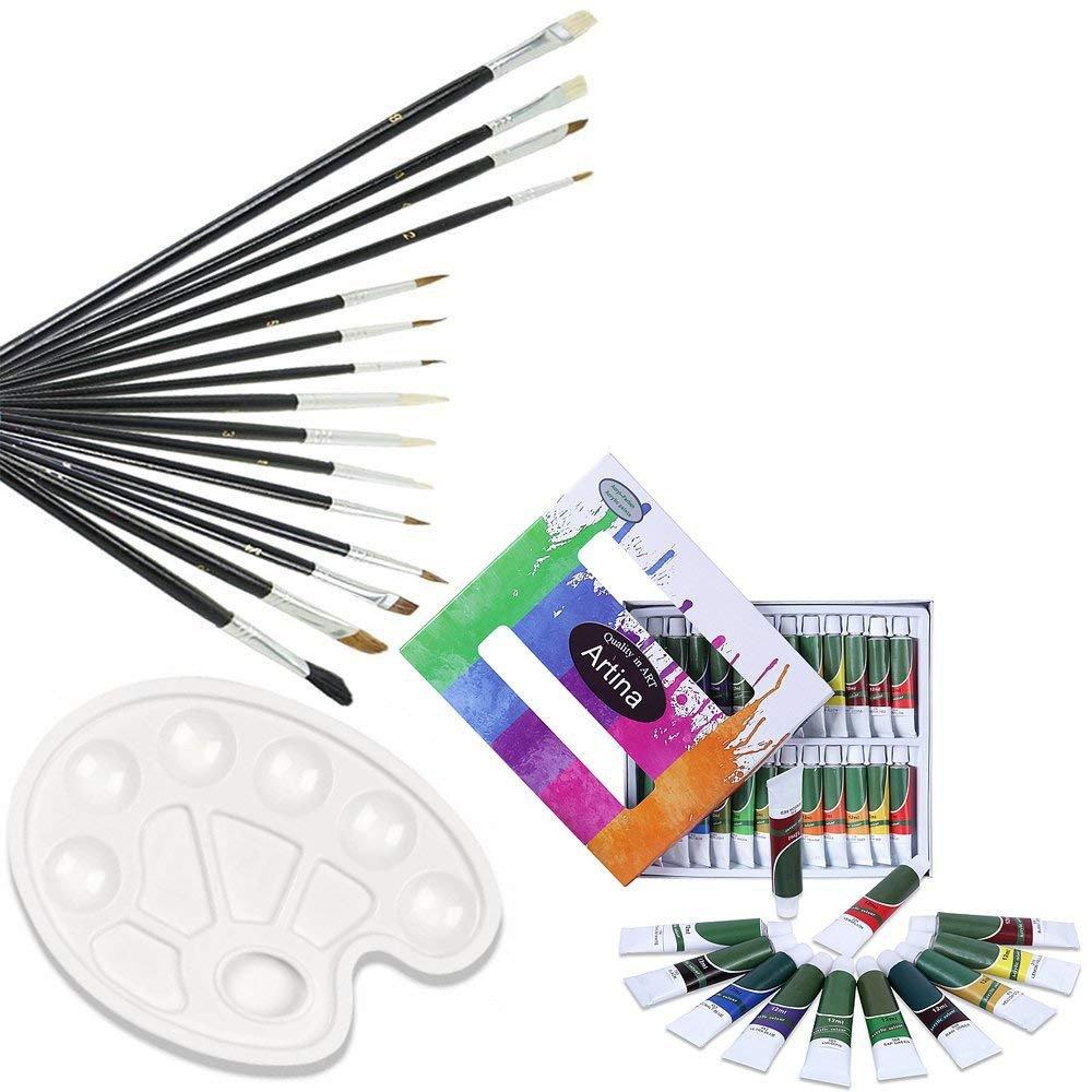 per artisti pittori Belle Arti Artina Kit per Pittura acrilica con 12 Colori acrilici 1 Set da 15 pennelli 1 tavolozza