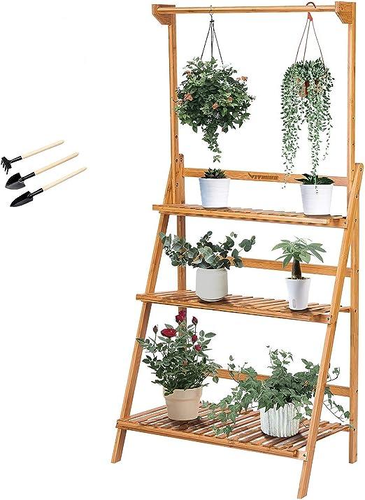 GWELL Escalera para Flores, bambú, Escalera para Flores, estantería para Plantas, estantería para Flores, 3 Niveles, para salón, balcón, jardín, Exterior: Amazon.es: Jardín