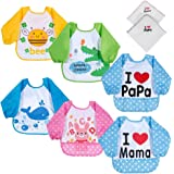 Lictin Bibs with Sleeves, Set of 6 Unisex Baby Waterproof Long Sleeved Bibs for 6-month Infants to 3-year-old Toddlers(Under 20kg) I love Mama Papa Design with 2 pcs 100% Cotton Baby Handkerchief