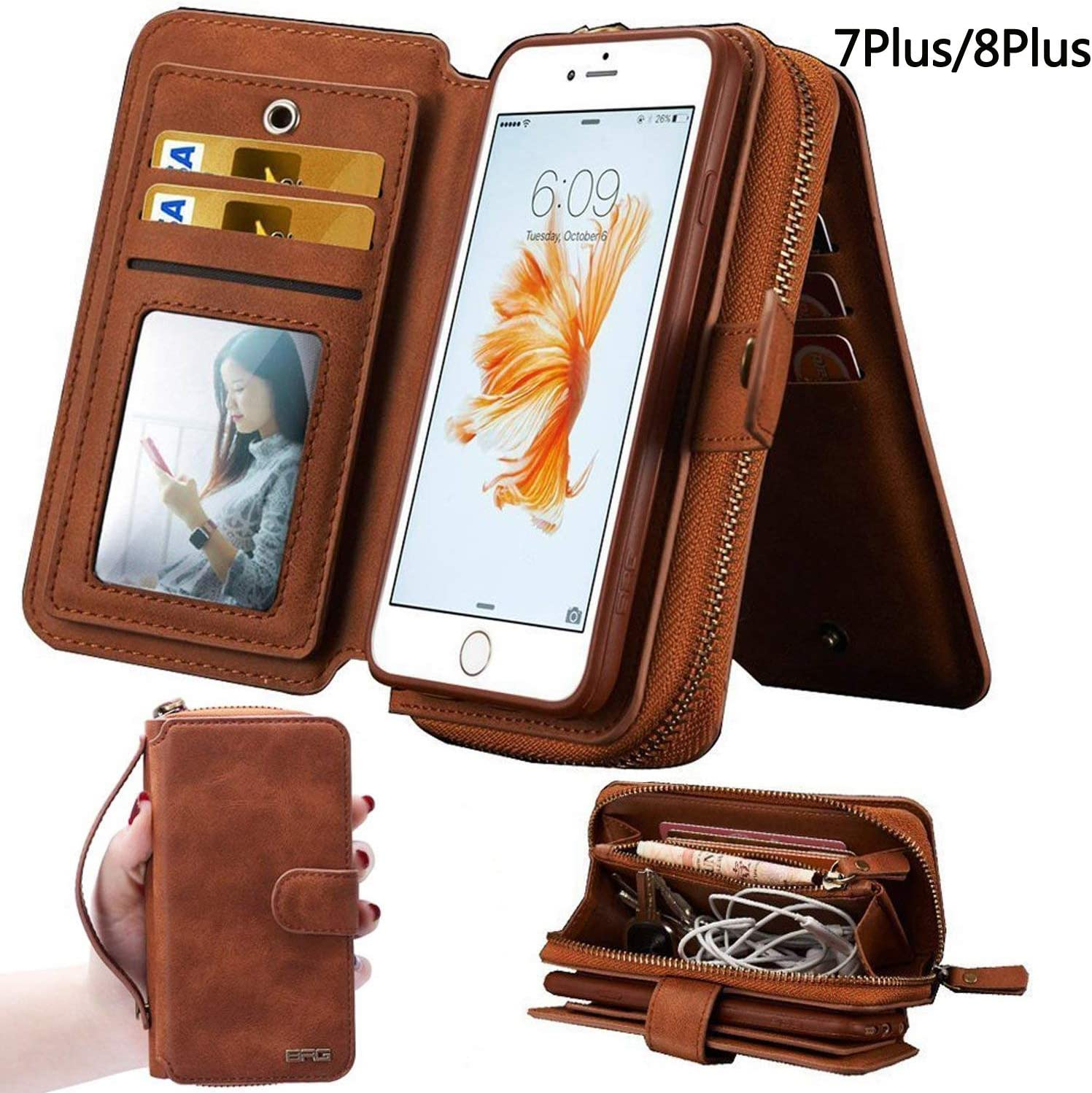 iPhone 7Plus/ 8Plus Women's Case,iPhone 7 Plus/8 Plus Wallet Case,Zipper Detachable Magnetic12 Card Slots Card Slots Money Pocket Clutch Cover Zipper Wallet Purse Case iPhone 7 Plus/8 Plus (Brown)