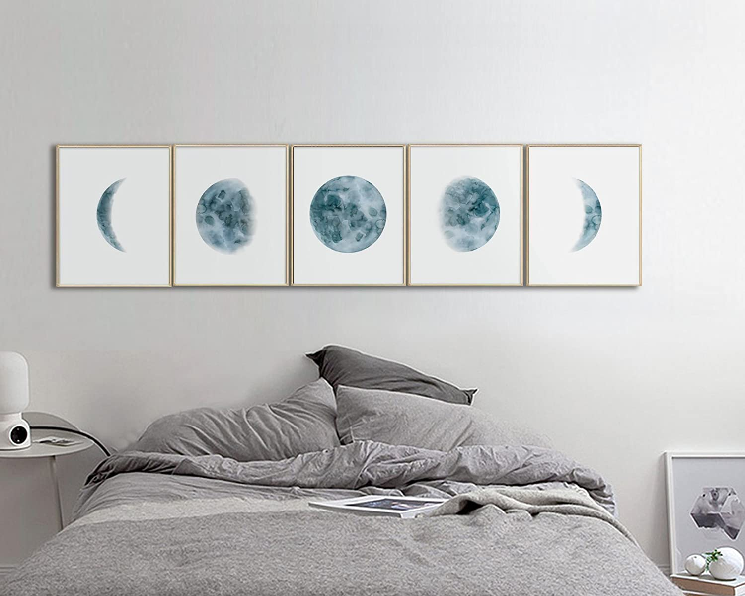 Pleasing Moon Phases Wall Art Print Bedroom Wall Art Bedroom Wall Decor Moon Phases Prints Set Indigo Blue Moon Phases Watercolor Prints Download Free Architecture Designs Itiscsunscenecom