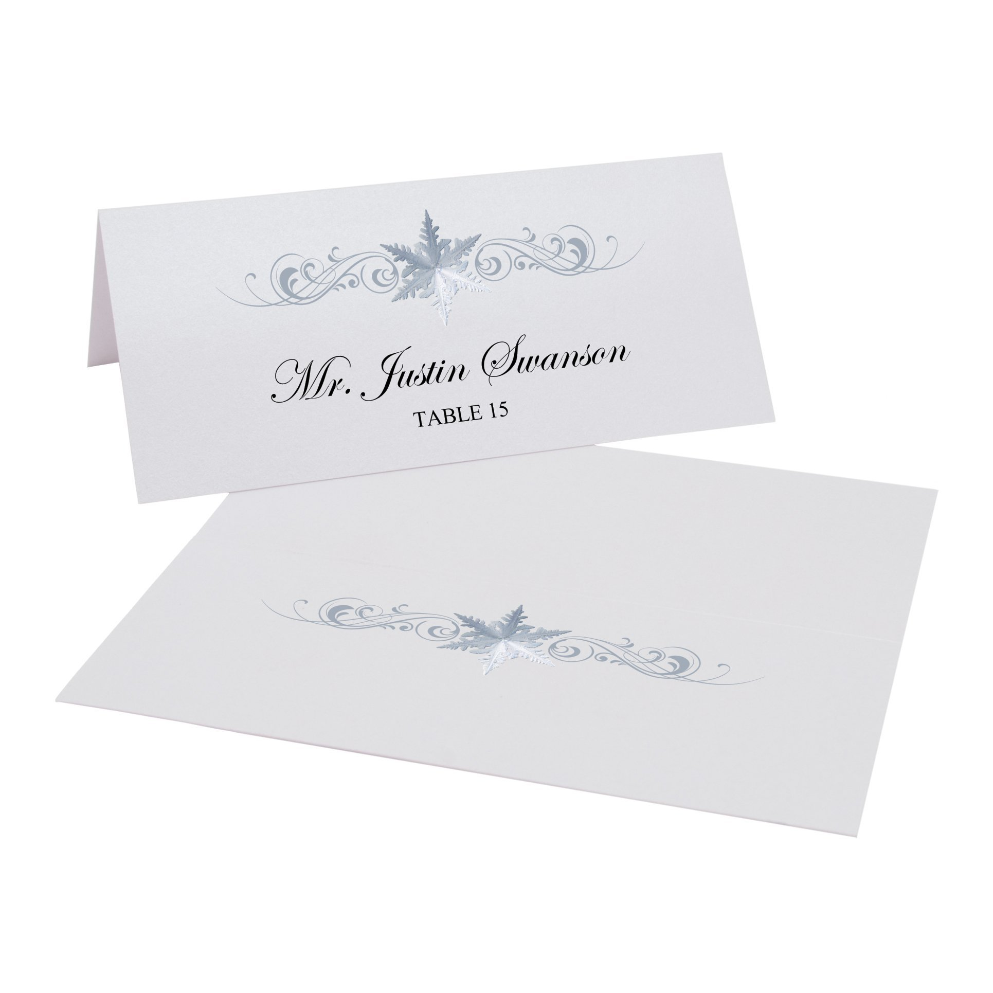 Snowflake Flourish Place Cards, Pearl White, Set of 375 by Documents and Designs
