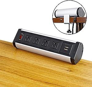 Desk Clamp Power Strip, Desk Mount USB Charging Power Station, Removable Desktop Power Center, Desk Partition Desk Edge Power Outlets Surge Protector Power Strip with 4 AC Outlet and 2 USB Charger