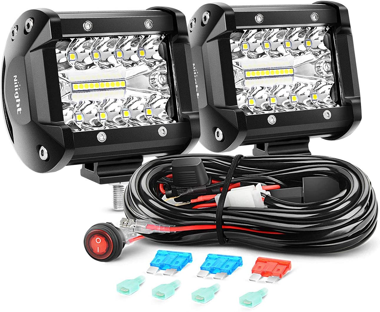 Nilight ZH302 18W Bar 2PCS 60W 4 Inch Flood Spot Combo LED Light Pods Triple Row Work Driving Lamp with 12 ft Wiring Harness kit-2 Leads,2 Year Warranty