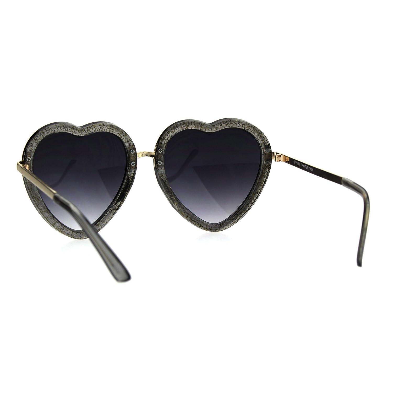 d909fb30c6a92 Amazon.com  Glittery Heart Shape Sunglasses Sparkly Love Fashion Womens  Shades UV 400 Blue  Clothing