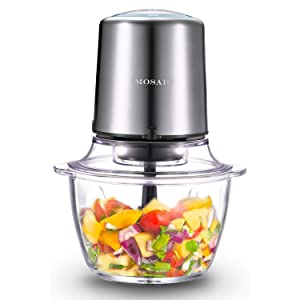 Electric Food Processor, MOSAIC Stainless Steel Meat Grinder and Food Chopper with 4 Titanium Coating Blades and 5-Cup Glass Bowl, 2 Speeds Blender and Mincer for Mincing, Chopping, Grinding