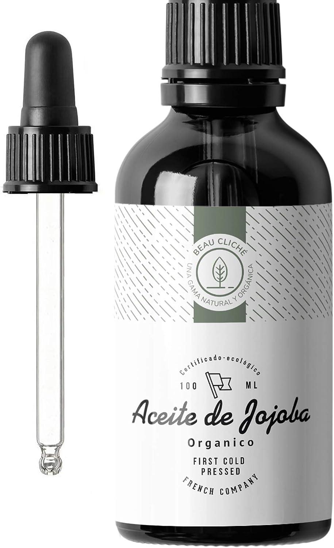 100ml Aceite de Jojoba Orgánico, Prensado en frío, Puro - Cuidado 100% Natural para la Piel, Cabello, Barba - Botella de cristal - Embotellado en Francia