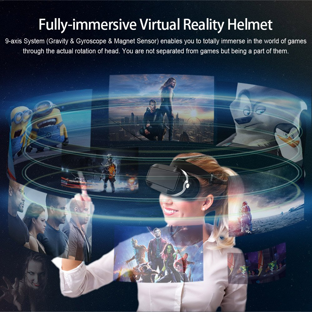 Docooler Virtual Reality Glasses VR All-in-one Machine 3D VR Headset 5.5Inch Touch Screen WiFi Bluetooth 4.0 w / Earphone Jack TF Card Slot US Plug by Docooler (Image #9)