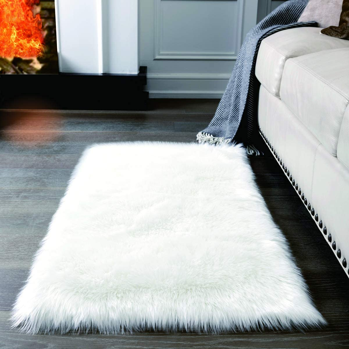 Amazon.com: Super Soft White Fluffy Rug Faux Fur Area Rug, Fur ...