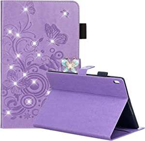 "Dteck Lenovo Tab 4 / Tab 4 Plus 10"" Case - Embossed Butterfly with 3D Bling Diamond Magnetic Premium Leather Folio Stand Wallet Cover for Case for Lenovo Tab 4 Plus 10.1 in HD Tablet 2017, Purple"
