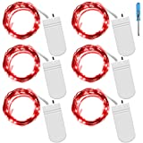 Fairy String Lights with Screwdriver, SENHAI Set of 6 LED Lights Copper Wire, 20 LED Bulbs for Bedroom House Party Wedding Concert Festival Halloween Christmas Tree Decoration - Red