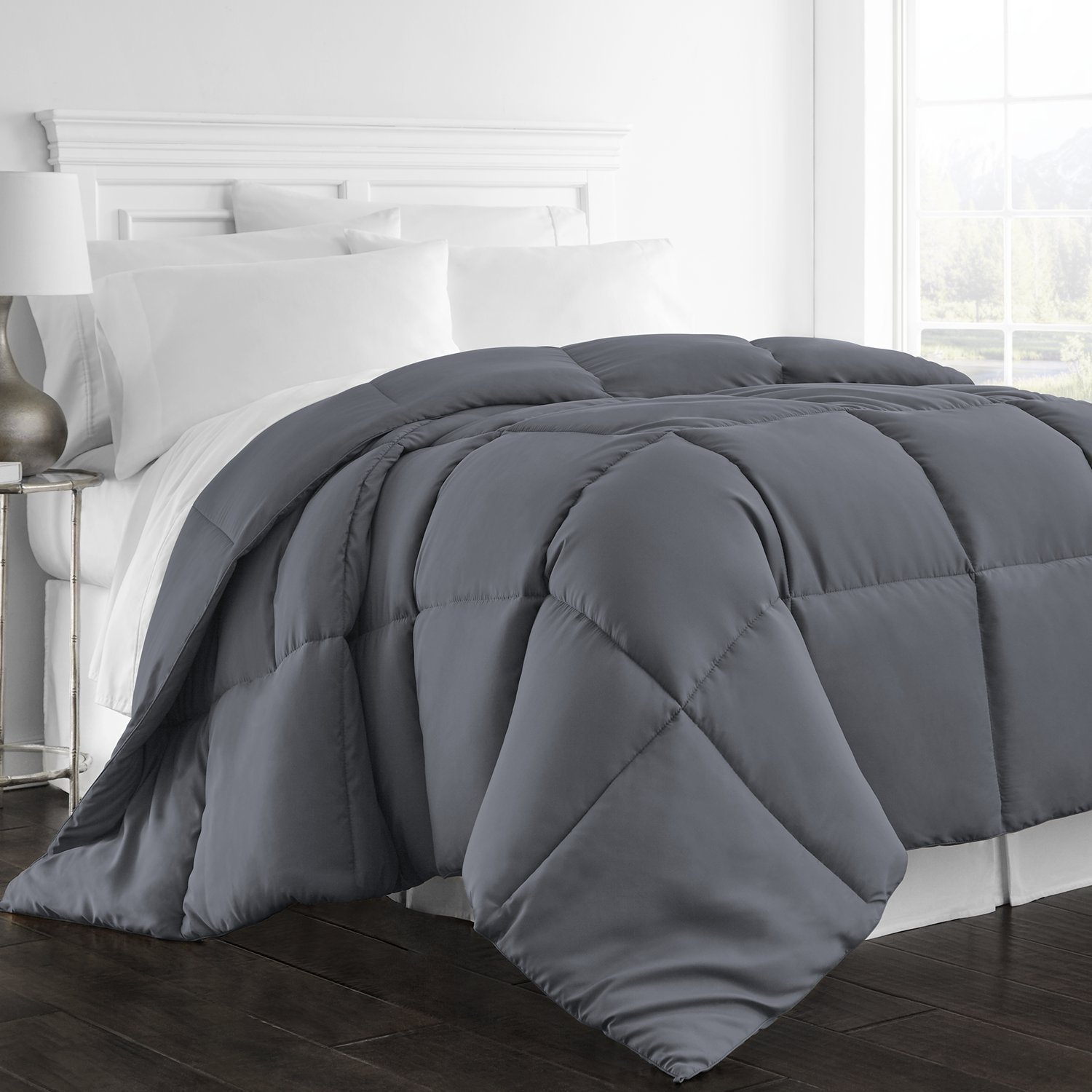 Beckham Hotel Collection - All Season - Luxury Goose Down Alternative Comforter - Hypoallergenic - Full/Queen - Gray