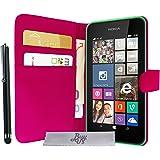 Housse Etui Luxe Fuchsia Stand Portefeuille Nokia Lumia 630 635 + STYLET et 3 FILMS OFFERTS