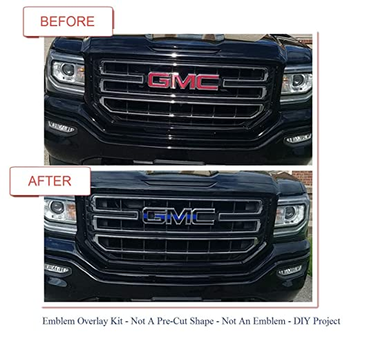 Amazon com: 07-17 GMC FRONT and REAR Vinyl Emblem Overlay Kit || DIY