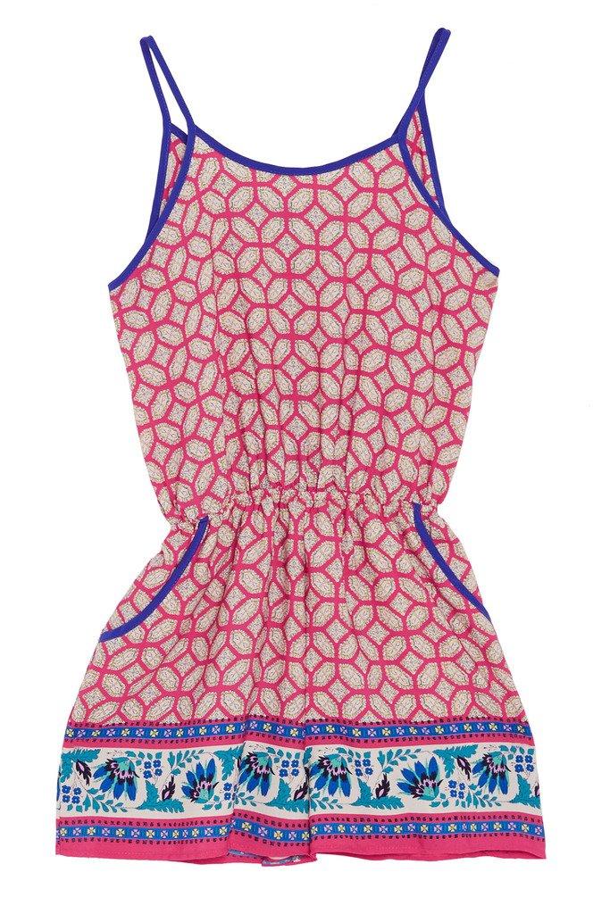 Poshsquare Big Girls Kids Fashion Jewel Pattern Prints Criss Cross Pockets Romper USA PK XL