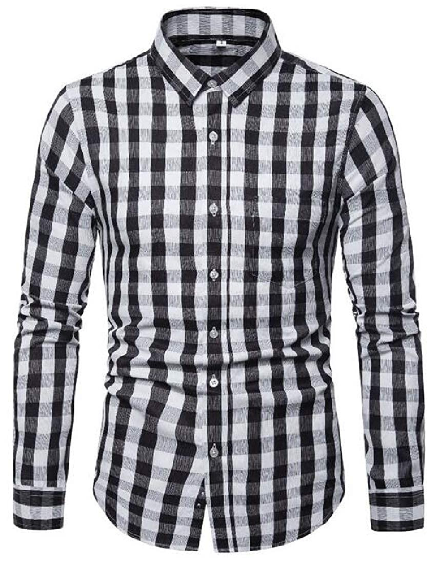 Domple Mens Shirts Casual Button Up Long Sleeve Formal Plaid Dress Shirts