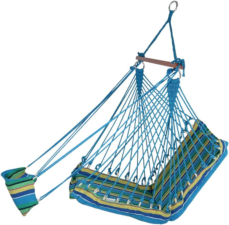 Sunnydaze 26 Inch Wide Hanging Hammock Chair with Footrest - Ocean Breeze - 330 lbs Weight Capacity