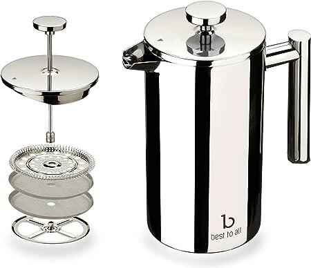Best To All cafetera de prensa francesa de acero 18/10 con pantalla de acero inoxidable (1000 ml), libre de óxido, apta para lavavajillas.: Amazon.es: Hogar