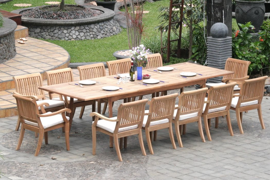 Amazon.com : New 13 Pc Luxurious Grade-A Teak Dining Set - Large ...