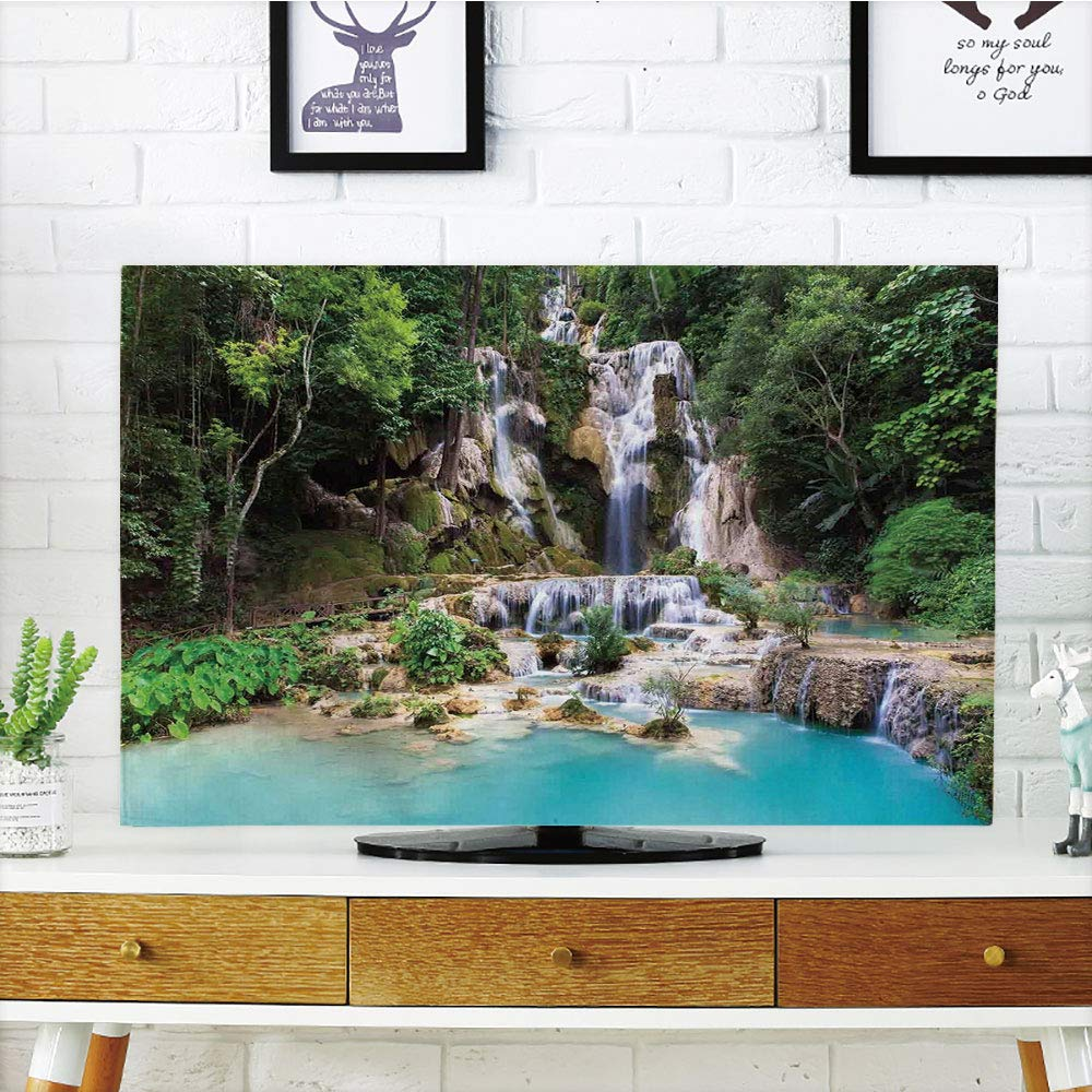 LCD TV dust Cover Strong Durability,Waterfall Decor,Waterfall in Corner of Lake in Laos Surrounded by The Vietnamese Trees,Blue and Green,Picture Print Design Compatible 32'' TV