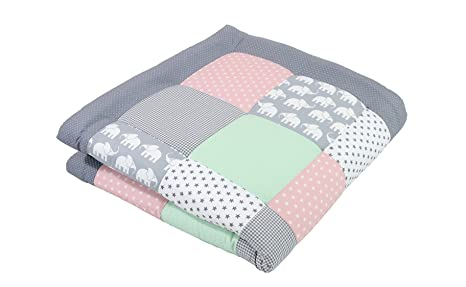 Alfombra para gatear de ULLENBOOM ® con elefantes menta rosa (manta para bebé de 100