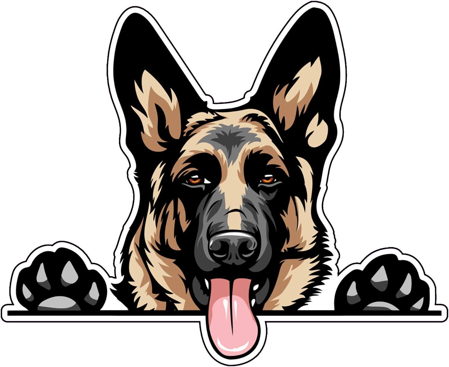 WickedGoodz German Shepherd Decal - Smiling Dog Breed Bumper Sticker - for Laptops Tumblers Windows Cars Trucks Walls - Full Color