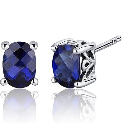 Revoni Basket Style 2.00 Carats Blue Sapphire Oval Cut Stud Earrings in Sterling Silver hpp9uo4B